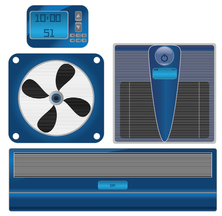 digital thermometer: vector Digital thermometer and air conditioning