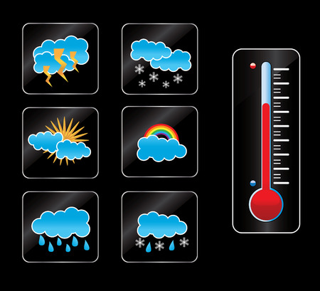 weather icon and thermometer Vector