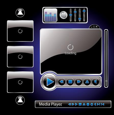 play button: Vector media interface template
