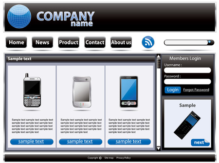 Web site interface  Vector