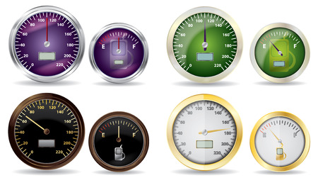 miles: set of vector speedometer and fuel icon