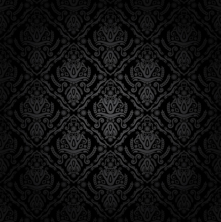 flowers black background: Seamless vector wallpaper
