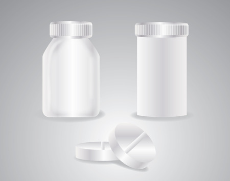 medical bottles and pills Vector