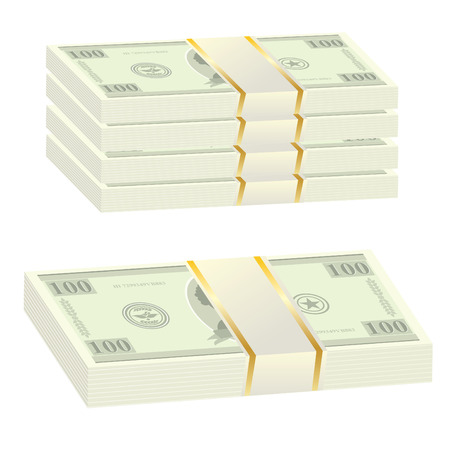 batch of dollars: Set of money on a isolated background  Illustration