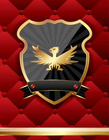 golden eagle: Vector classic shield on a red background