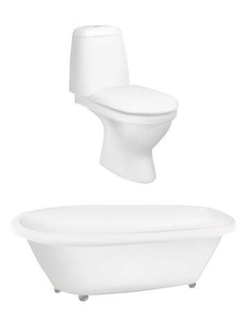 toilet bowl: Bath and toilet on a isolated background,Vector