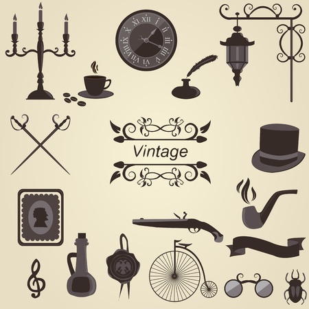 Set of vintage objects, vector Vector