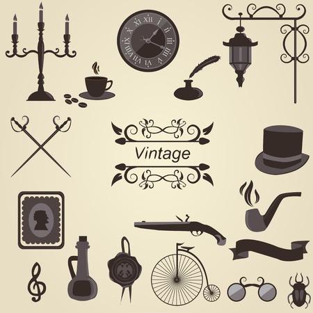 candelabrum: Set of vintage objects, vector