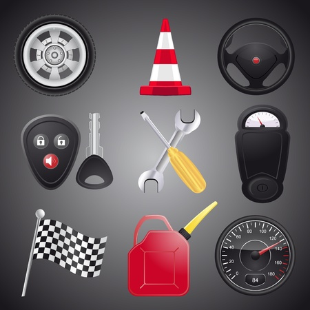 Set of automobile objects,vector Stock Vector - 11475916