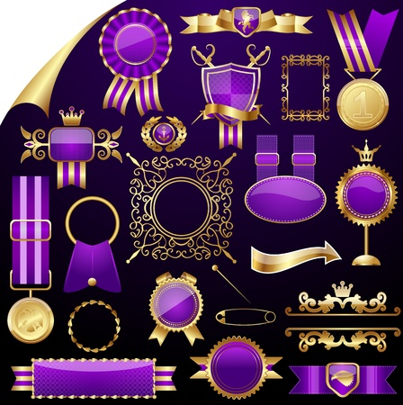 Set of gold design elements,vector Stock Vector - 11666799