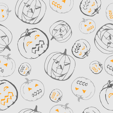 grey pattern: Halloween grey pattern with pumpkin Illustration
