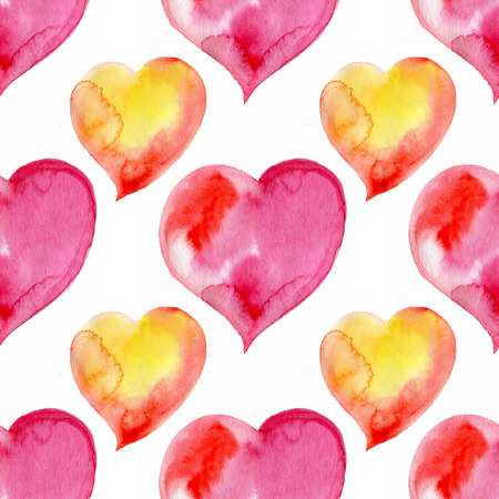 Seamless watercolor pattern with hearts for Valentines day.