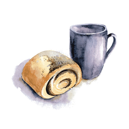Cup of tea and bun, watercolor. Vector.