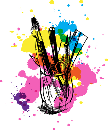 ink well: Brushes, pens, pencils, ruler and scissors in a glass beaker.