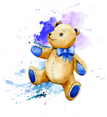 Teddy bear. Watercolor illustration.
