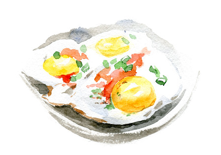 Fried eggs and tomato on the plate. Watercolor illustration on white background. Stock Photo