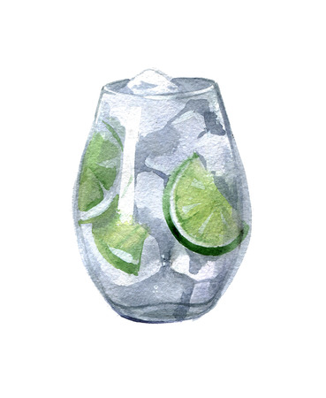 Gin and tonic with ice and lime in a transparent glass.