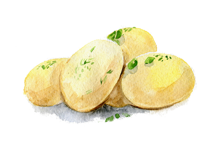 Boiled potatoes. Watercolor illustration. Isolated. Stock Photo