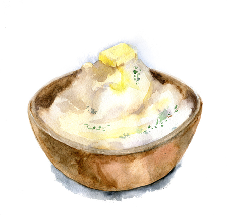 Mashed potatoes in a deep dish with a slice of butter and herbs. Hand drawn watercolor illustration. Isolated.