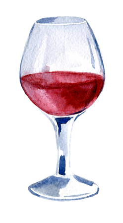 A glass of red wine. Watercolor. Hand drawn, illustration of iso