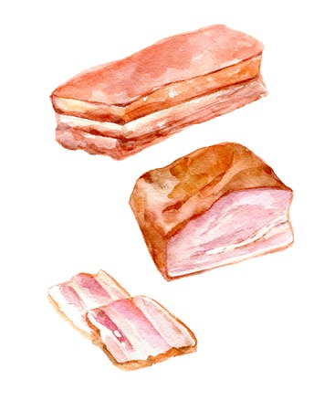 Watercolor Food Clipart - a ham, a piece of ham, a slice of ham