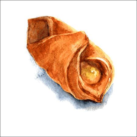 オレンジマーマレードとおいしいパフ。水彩画のイラスト。