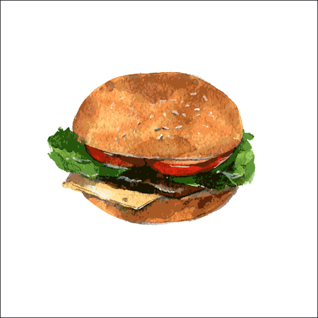 Delicious Burger with cheese, tomato and lettuce on a bun. Vector