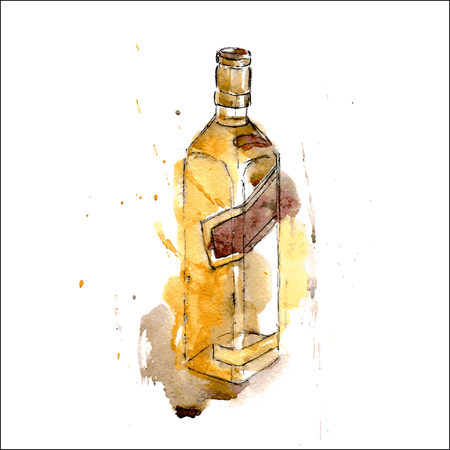 A bottle of whiskey. Watercolor. Isolated. vector