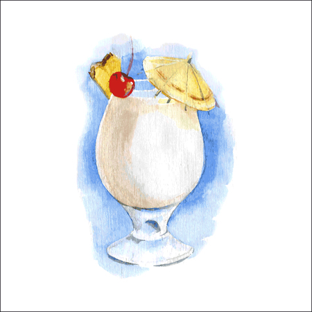 Pina-colada cocktail in glass. Watercolor illustration. vector