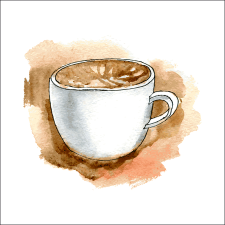 Cup of coffee. Watercolor illustration. Vector 向量圖像
