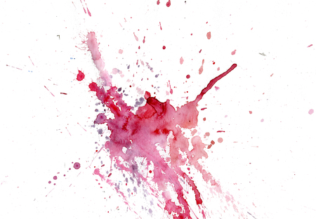 Bright watercolor pink-red stain drips. Abstract illustration on a white background. Banner for text, grunge element for decoration