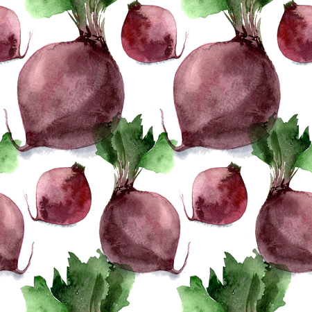 Seamless pattern of watercolor beets on white background Banque d'images - 116689047