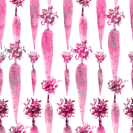 Seamless pattern of pink watercolor carrot on white background