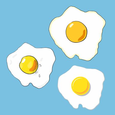 Set of fried eggs. Vector Vettoriali