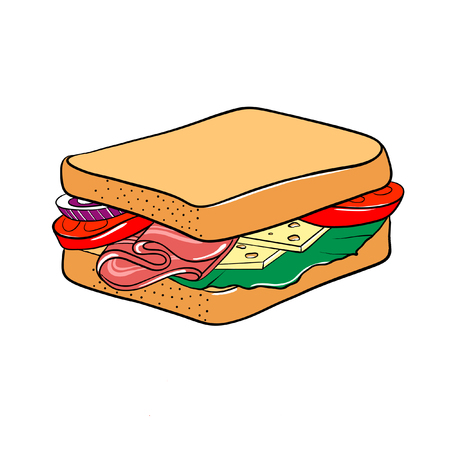 Tomato, ham, cheese and lettuce sandwich. illustration isolated on white.