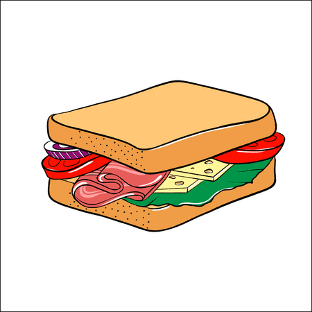 Tomato, ham, cheese and lettuce sandwich. illustration isolated on white background. Vector illustration