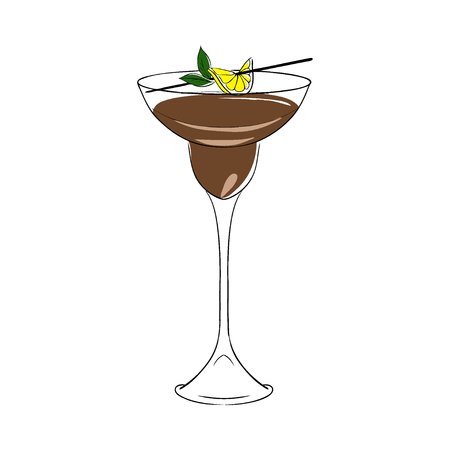 Brown cocktail, decorated with lemon and mint. Vector. Isolated