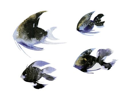 Set of black abstarct watercolor fish isolated on white background Banco de Imagens