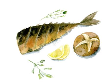 Appetizing grilled fish with lemon, baked potatoes and parsley. Watercolor illustration isolated on white background 版權商用圖片