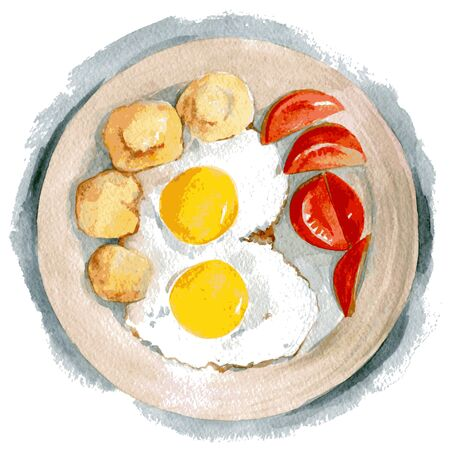 Delicious scrambled eggs with two yolks with tomatoes and fried potatoes. Watercolor illustration isolated on white background. Vector 写真素材