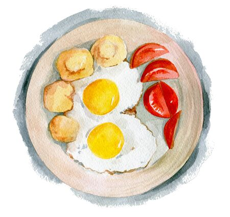 Delicious scrambled eggs with two yolks with tomatoes and fried potatoes. Watercolor illustration isolated on white background