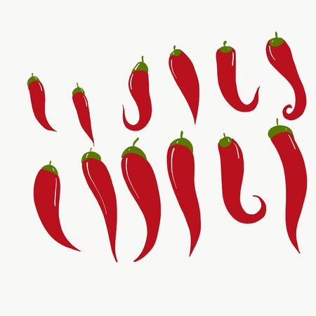 Set oh red hot chili peppers isolated on white