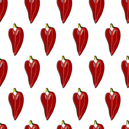 Seamless pattern of red sweet peppers for background. Vector