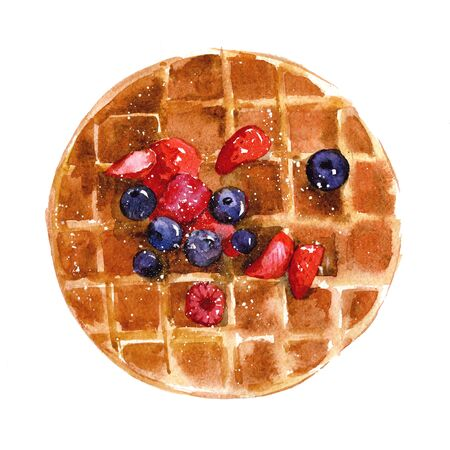 Crispy Viennese waffles with strawberries, blueberries and syrup. Watercolor illustration isolated on white background