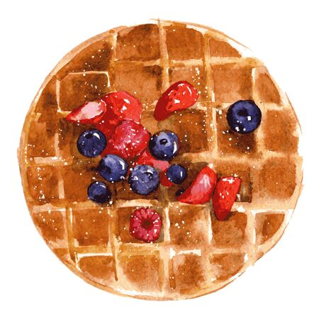 Crispy Viennese waffles with strawberries, blueberries and syrup. Watercolor illustration isolated on white background. Vector