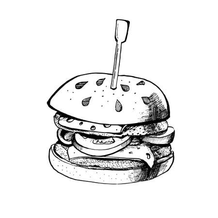 Black burger ink isolated on white background. Hand drawn vector illustration on white background. Çizim