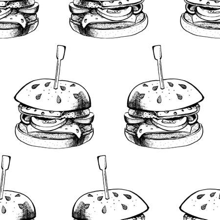 Seamless pattern of Black burger ink. Vector illustration. Çizim