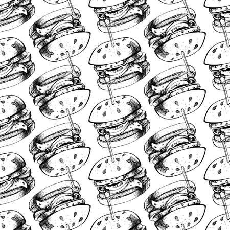 Seamless pattern of Black burger ink on white. Vector illustration. Çizim