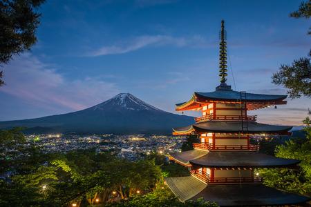 chureito: Chureito Pagoda with Mountain Fuji View at Dusk