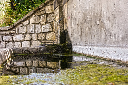 Mountain Fontanella with hot water trough Stock Photo